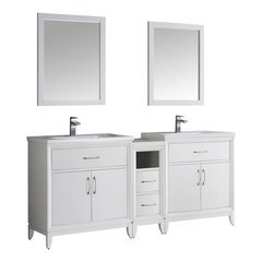 "Cambridge 72"" White Double Sink Traditional Bathroom Vanity w/ Mirrors"