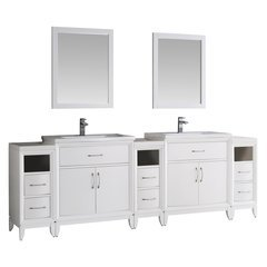 "Cambridge 96"" White Double Sink Traditional Bathroom Vanity w/ Mirrors"