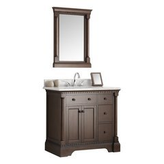 "Kingston 37"" Antique Coffee Traditional Bathroom Vanity w/ Mirror"