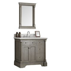 "Kingston 37"" Antique Silver Traditional Bathroom Vanity w/ Mirror"