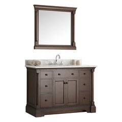 "Kingston 49"" Antique Coffee Traditional Bathroom Vanity w/ Mirror"