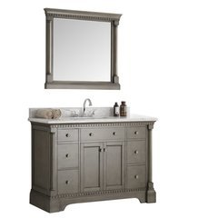 "Kingston 49"" Antique Silver Traditional Bathroom Vanity w/ Mirror"