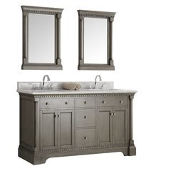 "Kingston 61"" Antique Silver Double Sink Traditional Bathroom Vanity w/ Mirrors"