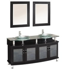 "Classico 60"" Espresso Double Sink Modern Bathroom Vanity w/ Mirrors"