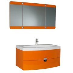 "Lucido 36"" Orange Modern Bathroom Vanity w/ Three Panel Folding Mirror"