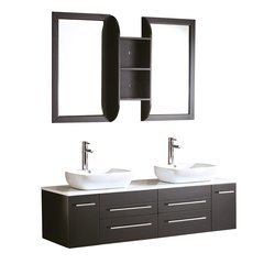 "Bellezza 59"" Espresso Modern Double Vessel Sink Bathroom Vanity"