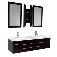 "Bellezza 59"" Espresso Modern Double Sink Bathroom Vanity"