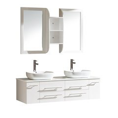 "Bellezza 59"" White Modern Double Vessel Sink Bathroom Vanity"