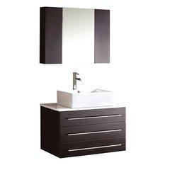 "Modello 32"" Espresso Modern Bathroom Vanity w/ Marble Countertop"
