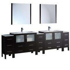 "Torino 108"" Espresso Modern Double Sink Bathroom Vanity w/ Integrated Sinks"