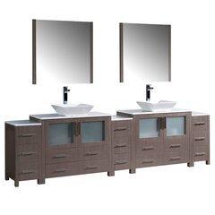 """Torino 108"""" Gray Oak Modern Double Sink Bathroom Vanity w/ Vessel Sinks"""