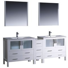 "Torino 84"" White Modern Bathroom Vanity w/ Side Cabinet & Integrated Sinks"