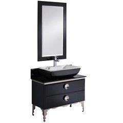 "Moselle 36"" Modern Glass Bathroom Vanity w/ Mirror"