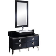 "Moselle 47"" Modern Glass Bathroom Vanity w/ Mirror"