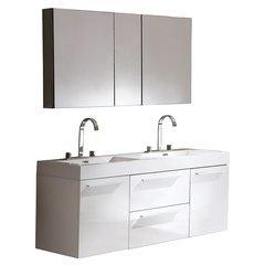 "Opulento 54"" White Modern Bathroom Vanity w/ Medicine Cabinet"