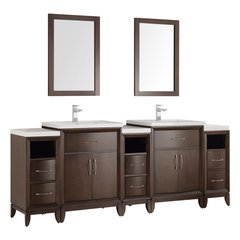 "Cambridge 84"" Antique Coffee Double Sink Traditional Bathroom Vanity w/ Mirrors"