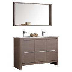 "Allier 48"" Gray Oak Modern Bathroom Vanity w/ Mirror"