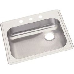 Dayton 25 Inch Single Bowl Sink 3 Faucet Holes - Satin