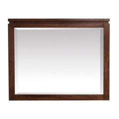 Giselle 38 Inch Beveled Mirror - Natural Walnut