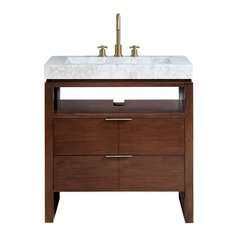 "33"" Giselle Single Vanity - Integrated Carrara White Marble Top"
