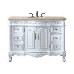 48 inch Saturn Single Sink Vanity - Marble Travertine Top - White