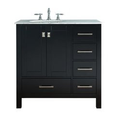 36 inch Malibu Single Sink Vanity - Marble Carrara White Top - Espresso