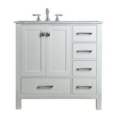 36 inch Malibu Single Sink Vanity - Marble Carrara White Top - Pure White