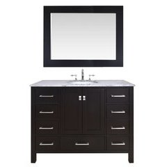 48 inch Malibu Single Sink Vanity - Marble Carrara White Top - Espresso