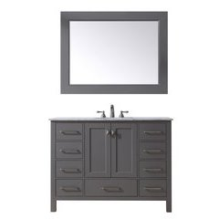 48 inch Malibu Single Sink Vanity - Marble Carrara White Top - Grey