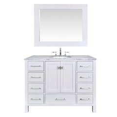 48 inch Malibu Single Sink Vanity - Marble Carrara White Top - Pure White