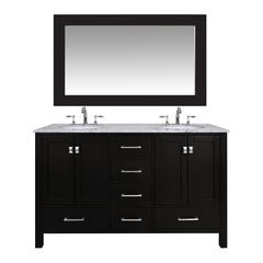 60 inch Malibu Double Sink Vanity - Marble Carrara White Top - Espresso