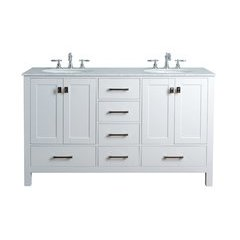 60 inch Malibu Double Sink Vanity - Marble Carrara White Top - Pure White