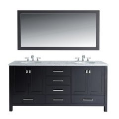 72 inch Malibu Double Sink Vanity - Marble Carrara White Top - Espresso