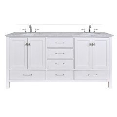 72 inch Malibu Double Sink Vanity - Marble Carrara White Top - Pure White