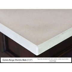 "60"" Single Bowl Vanity Top Only Galala Beige Marble"