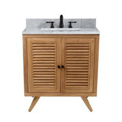 31 Inch Harper Vanity Combo - Natural Teak with Carrera White Marble Top