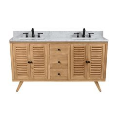 61 Inch Harper Vanity Combo - Natural Teak with Carrera White Marble Top