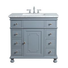 36 inch Abigail Single Sink Vanity - Marble Carrara White Top - Grey