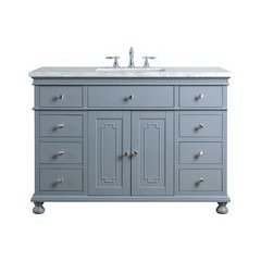 48 inch Abigail Single Sink Vanity - Marble Carrara White Top - Grey