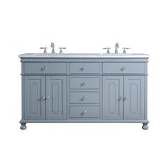 60 inch Abigail Double Sink Vanity - Marble Carrara White Top - Grey