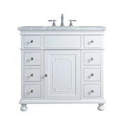 36 inch Abigail Single Sink Vanity - Marble Carrara White Top - White