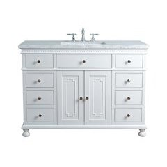 48 inch Abigail Single Sink Vanity - Marble Carrara White Top - White
