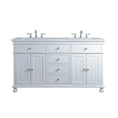 60 inch Abigail Double Sink Vanity - Marble Carrara White Top - White