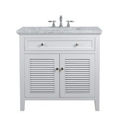 36 inch Genevieve Single Sink Vanity - Marble Carrara White Top - White
