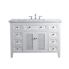48 inch Genevieve Single Sink Vanity - Marble Carrara White Top - White