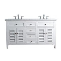 60 inch Genevieve Single Sink Vanity - Marble Carrara White Top - White
