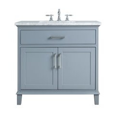 36 inch Leigh Single Sink Vanity - Marble Carrara White Top - Grey