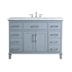 48 inch Leigh Single Sink Vanity - Marble Carrara White Top - Grey
