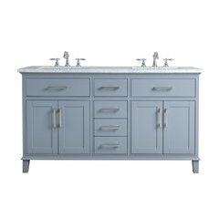 60 inch Leigh Double Sink Vanity - Marble Carrara White Top - Grey