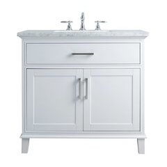 36 inch Leigh Single Sink Vanity - Marble Carrara White Top - White